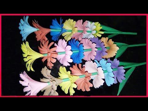 Rainbow Paper Stick Flower | DIY Paper Crafts | Zinat Crafts