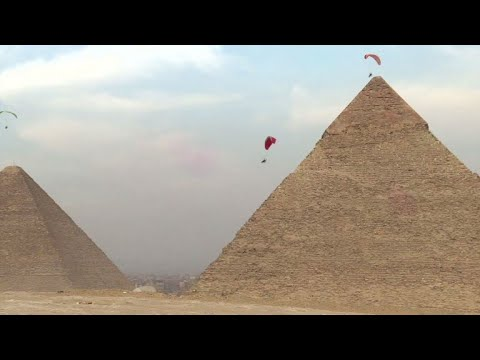 Festival of parachuting and paramotoring by Egypt's pyramids