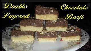 Double Layered Chocolate Burfi | Diwali Sweets | #Sweets | #Barfi | #Milk