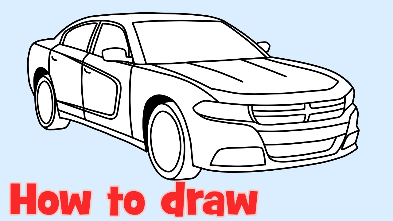 how to draw a car dodge charger rt 2015 youtube. Black Bedroom Furniture Sets. Home Design Ideas