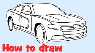 How to draw a car Dodge Charger RT 2015