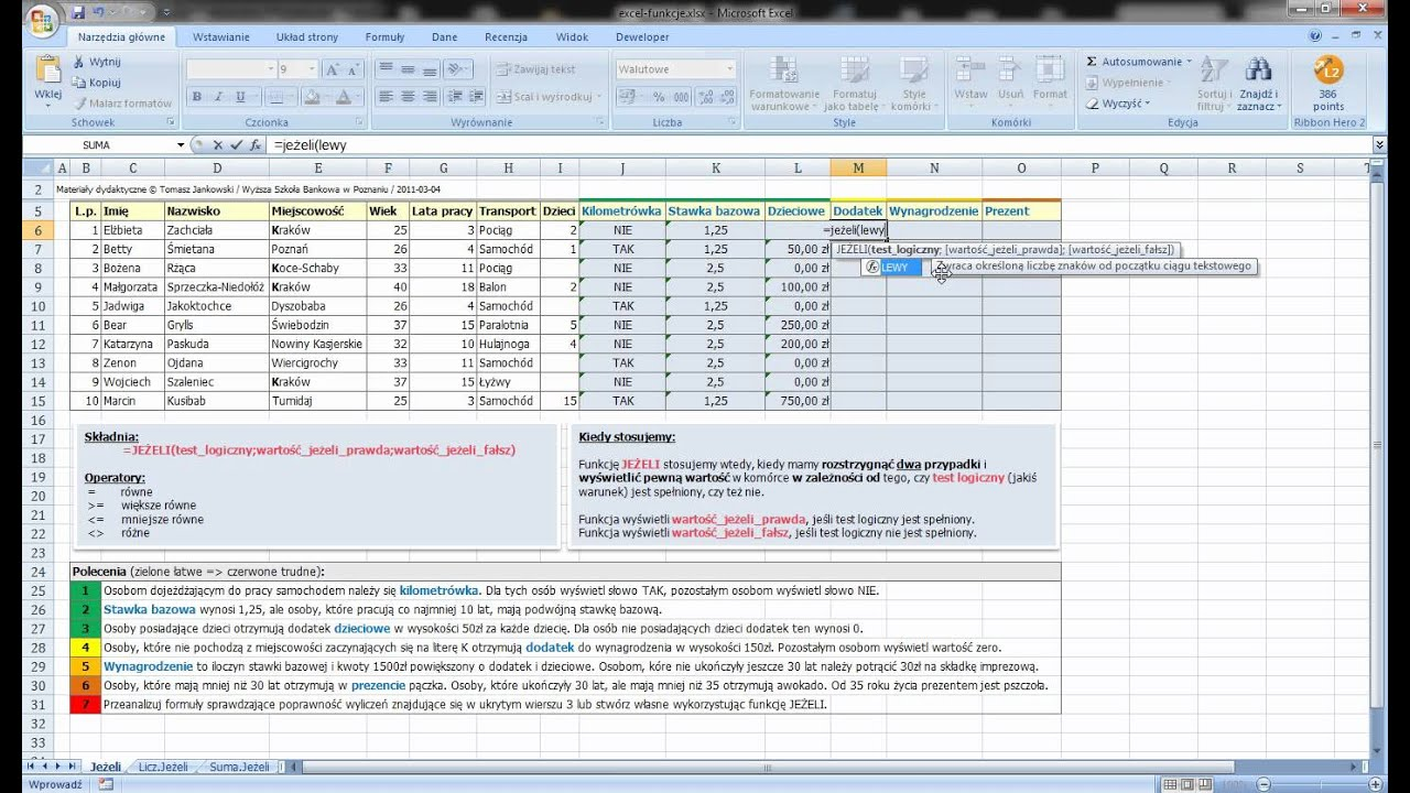 Cz??? 20   Excel   funkcja JE?ELI