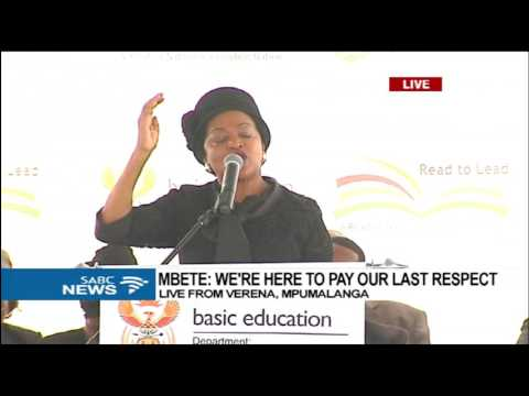 Mbete pays last respects at funeral of the 16 learners