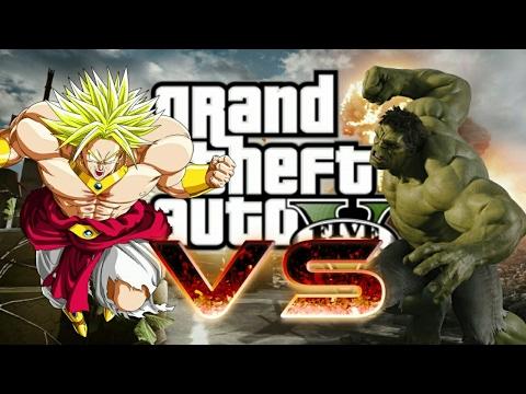Broly vs Hulk gta 5 BATALHA EPICA!!!