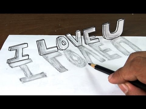 How to draw I love you in 3D graffiti letters with narration.