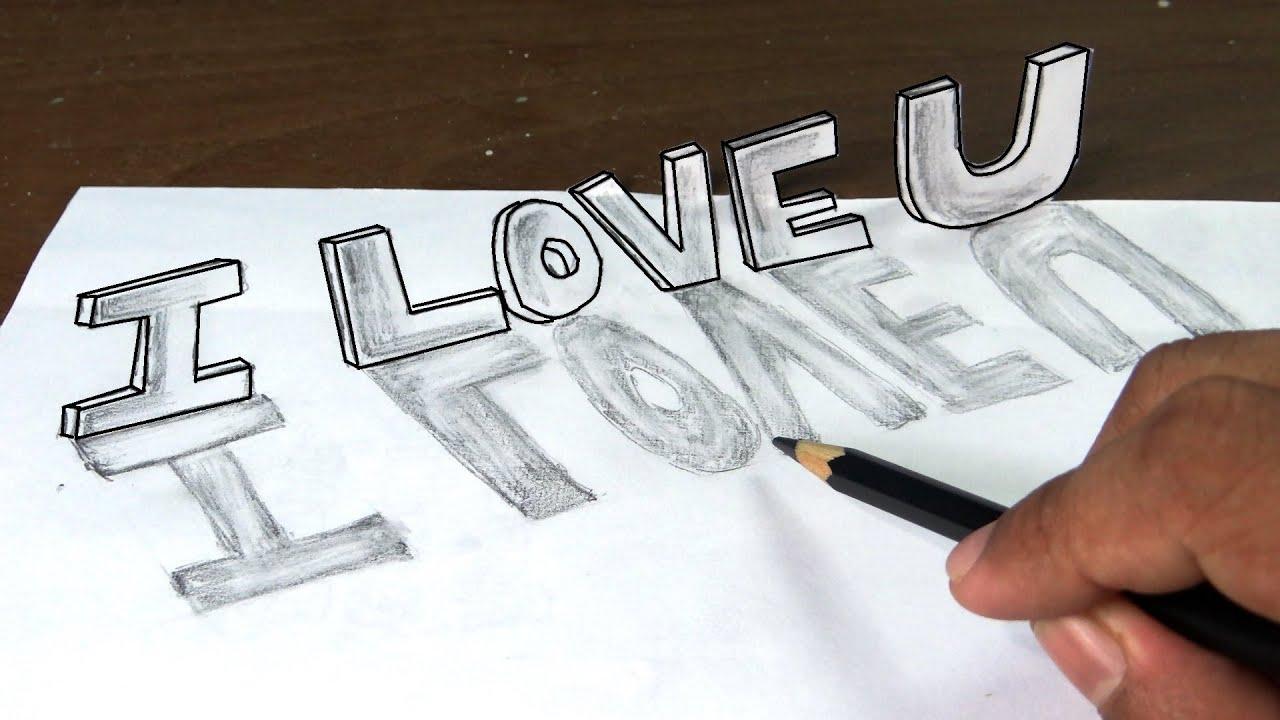 How to draw I love you in 3D graffiti letters with