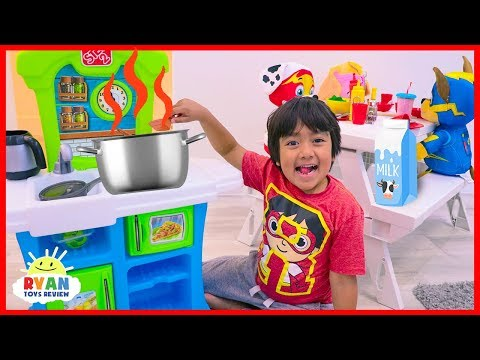 Ryan Pretend Play Kitchen Food Toys with Mighty Pups Paw Patrol