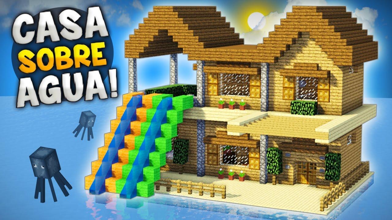 minecraft como hacer una increble casa sobre el agua con epicos toboganes para survival