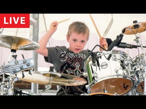 """""""Wipe Out, LIVE"""" Avery Molek, 6 year old Drummer"""
