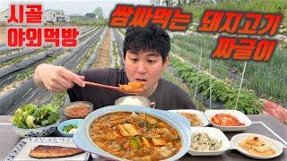 시골먹방) 쌈싸먹는 돼지고기 짜글이 먹방