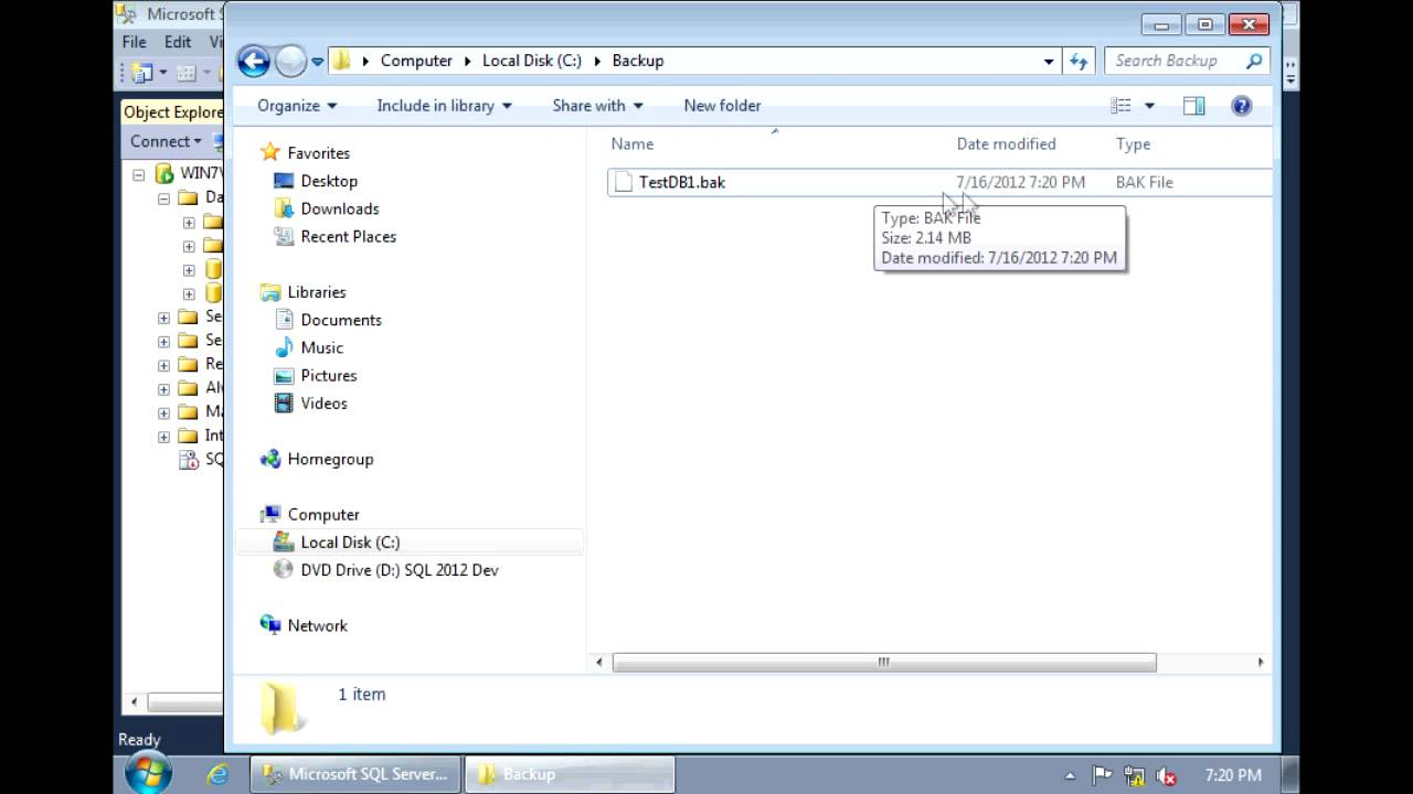 SQL Server 2012 - How To Backup and Restore