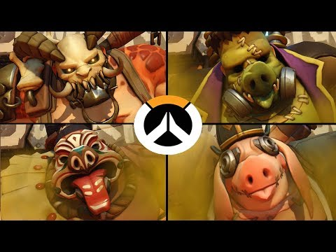 Overwatch - All Roadhog Skins with All Highlight Intros!