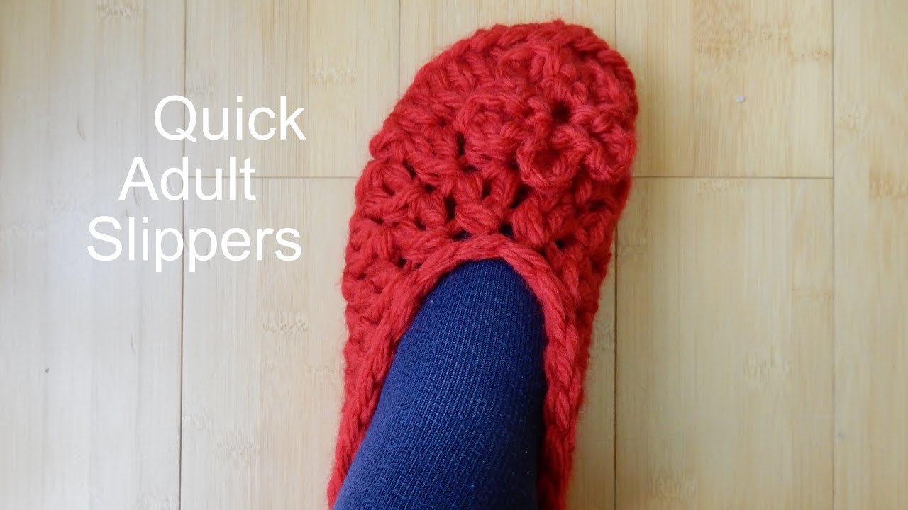 1de11c3fc13 How to Crochet Simple Adult Slippers - YouTube