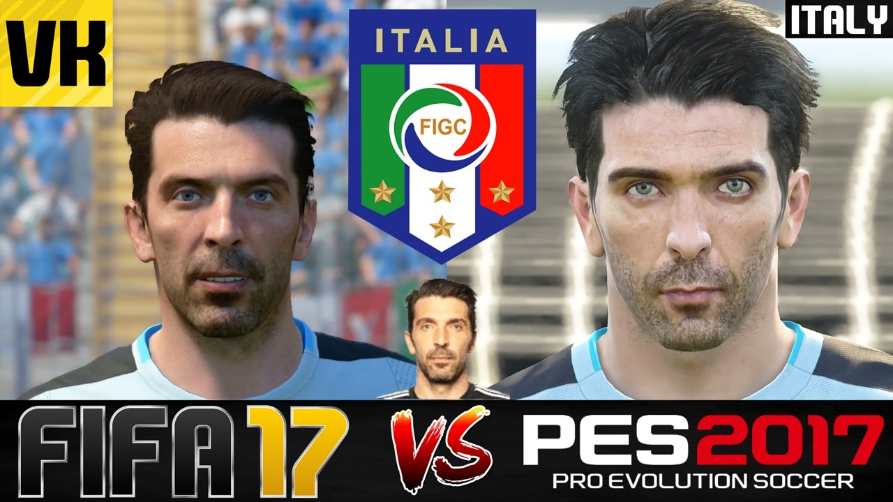 cc20436f148d FIFA 17 VS PES 2017 VS REAL LIFE ITALY PLAYER FACES COMPARISON (Buffon