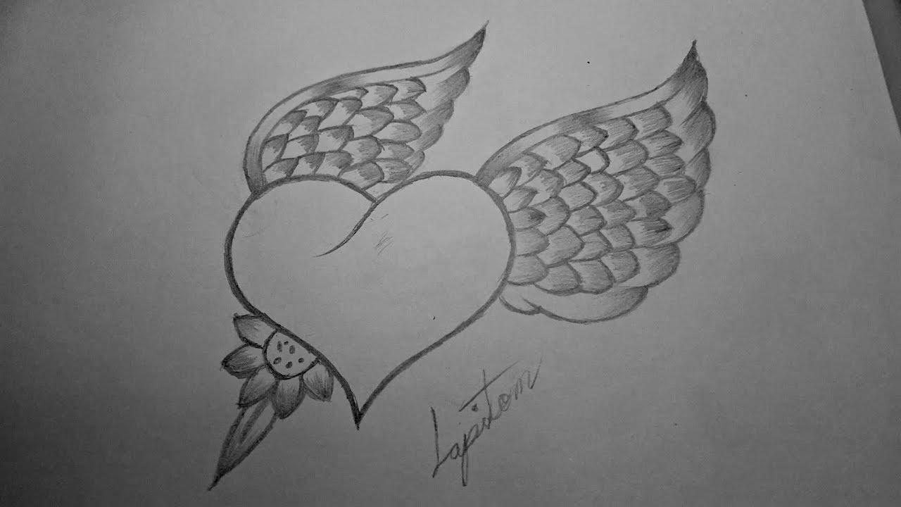 Como Dibujar Un Corazon Con Alas De Angel A Lapiz Paso A Paso Youtube