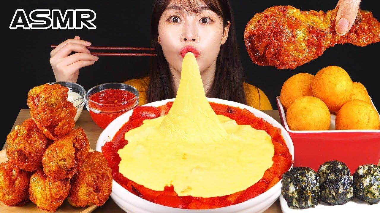 ASMR MUKBANG| 직접 만든 떡볶이 양념치킨 치즈 먹방 & 레시피 FRIED CHICKEN AND Tteokbokki EATIN