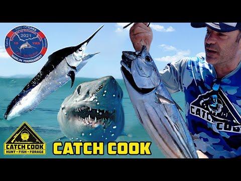 Big Mako Shark, Marlin, and Improvised Tuna Cook on 6 Day Marlin Comp