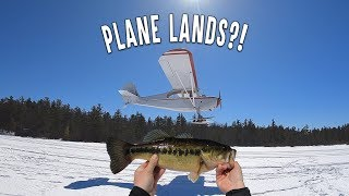 Plane Almost Crashes Into Our Ice Fishing Setup - Snowmobile Races On Track - Craziest Fishing Day!