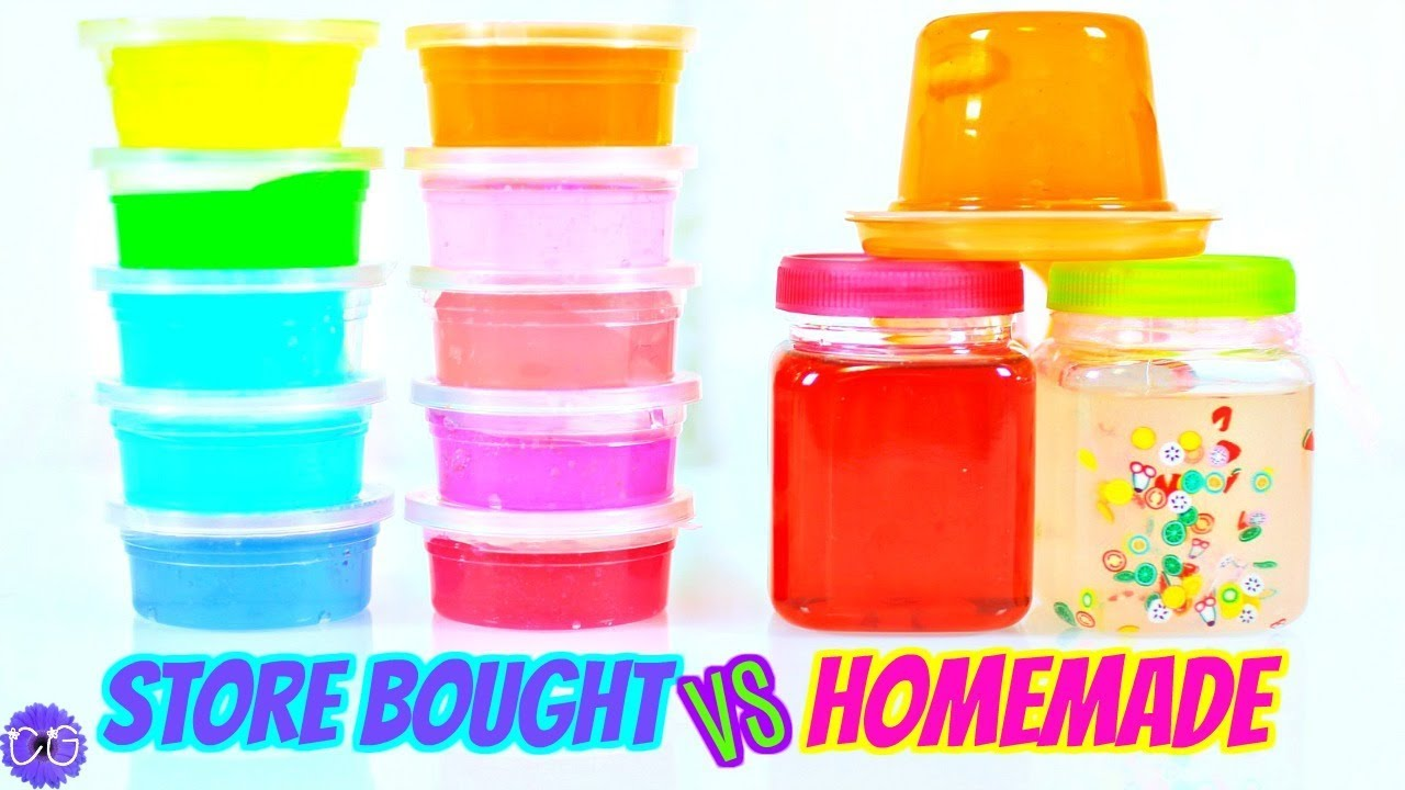 Store Bought Slime vs. Homemade Slime AND A Squishy Package! - YouTube