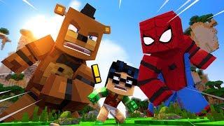Minecraft vs FNAF GIGA SPIDERMAN BLOW UP FREDDY Superheroes Mods for Kids FNAF Funny Moments