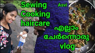 Simple vlog|Sewing|How to alter dress|Easy vegetable curry|Skin care&hair care|Asvi Malayalam