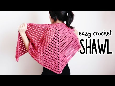 How to crochet TRIANGLE SHAWL (easy crochet shawl!) ♥ CROCHET LOVERS