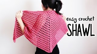 How to crochet TRIANGLE SHAWL (easy crochet shawl!) ♥ CROCHET LOVERS