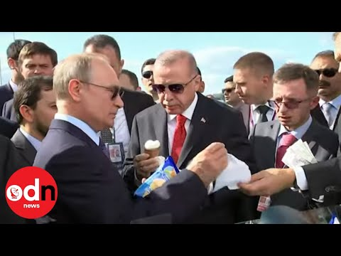 My Treat! Vladimir Putin Buys Turkey's President Erdogan And All His Team An Ice Cream