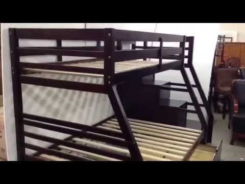 Walter Twin Over Full Bunk Bed With Steps Ac37015 Youtube