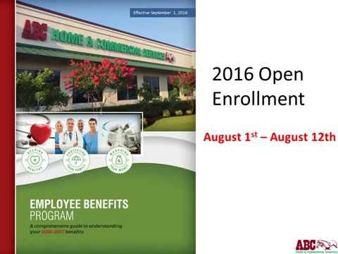 ABC Home and Commercial Services Employee Benefit Program effective Sept 2016