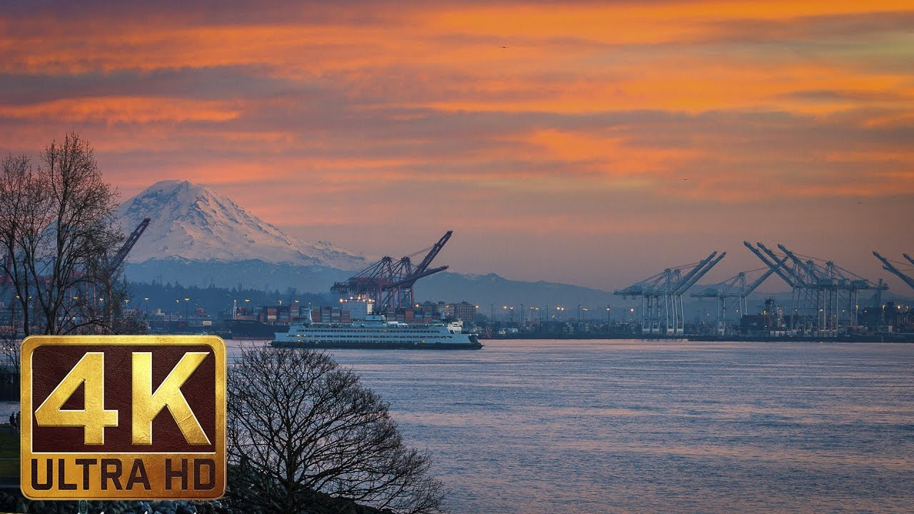 4K Urban Relax Video from Seattle - View from Olympic Sculpture Park - Episode 2