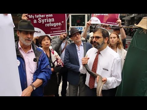Rabbis protest outside Trump Tower against president's immigration policies