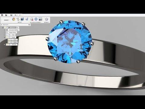 Fusion 360 - Blue Diamond Ring