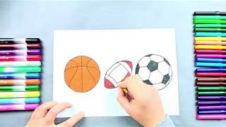 Football, basketball and rugby ball drawing and coloring