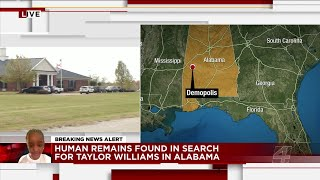 Human remains found in search for Taylor Rose Williams