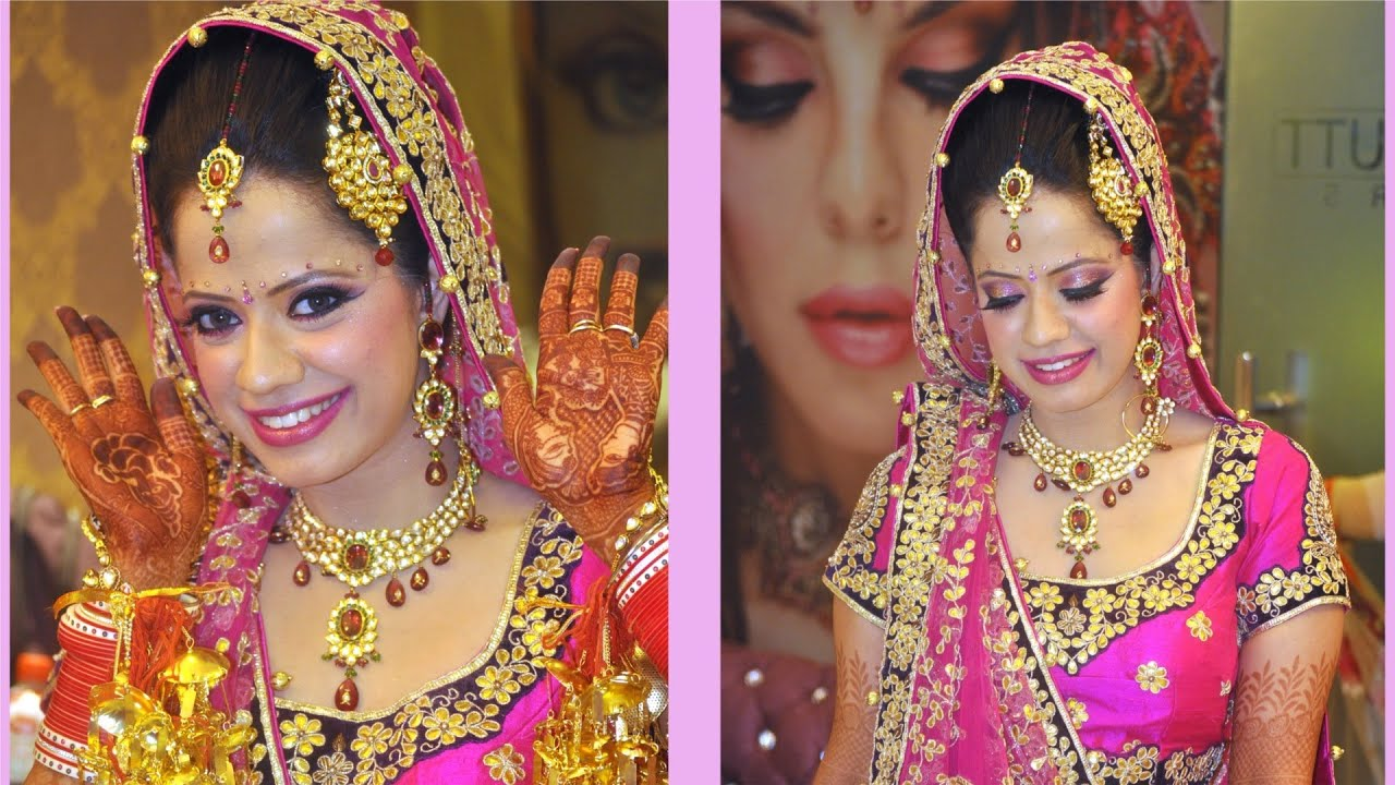 Indian Bride Makeup Fuchsia And Purple Look Youtube