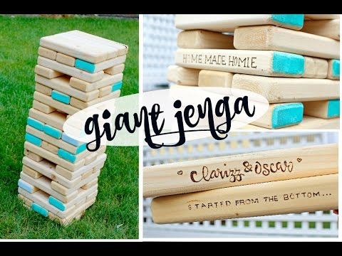DIY GIANT JENGA +how to carve logo & decorate!