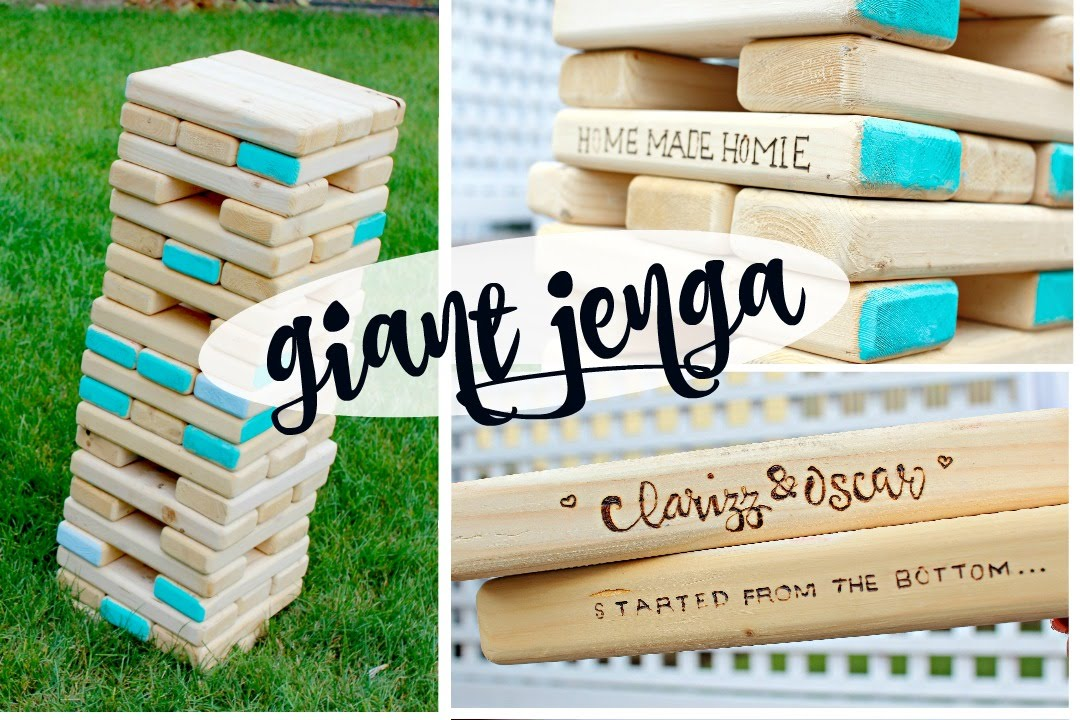 Diy Giant Jenga How To Carve Logo Decorate