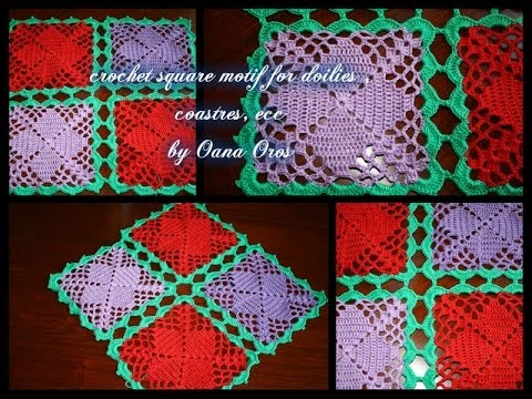 crochet square motif for costers , doilies - YouTube
