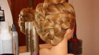 Романтическая причёска на средние волосы (изнаночная коса)
