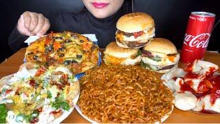 ASMR:EATING DOMINO'S PIZZA,DAHIPURI,CHEESE BURGER,MOMOS l FAST FOOD EATING ASMR l *spice asmr*