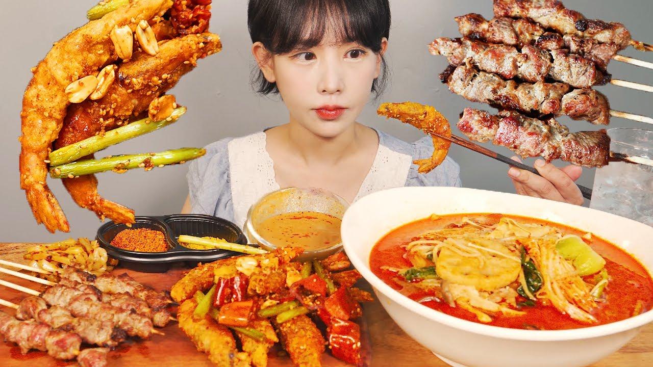 간만에 마라탕🍲 양꼬치와 향라대하🦐 먹방 Malatang & Spicy Shrimp &Lamb skewers [eating show]mukbang korean food