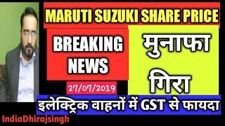 मुनाफा गिरा इलेक्ट्रिक वाहन जीएसटी से फायदा MARUTI SHARE PRICE UPDATES INDIAN STOCK MARKET