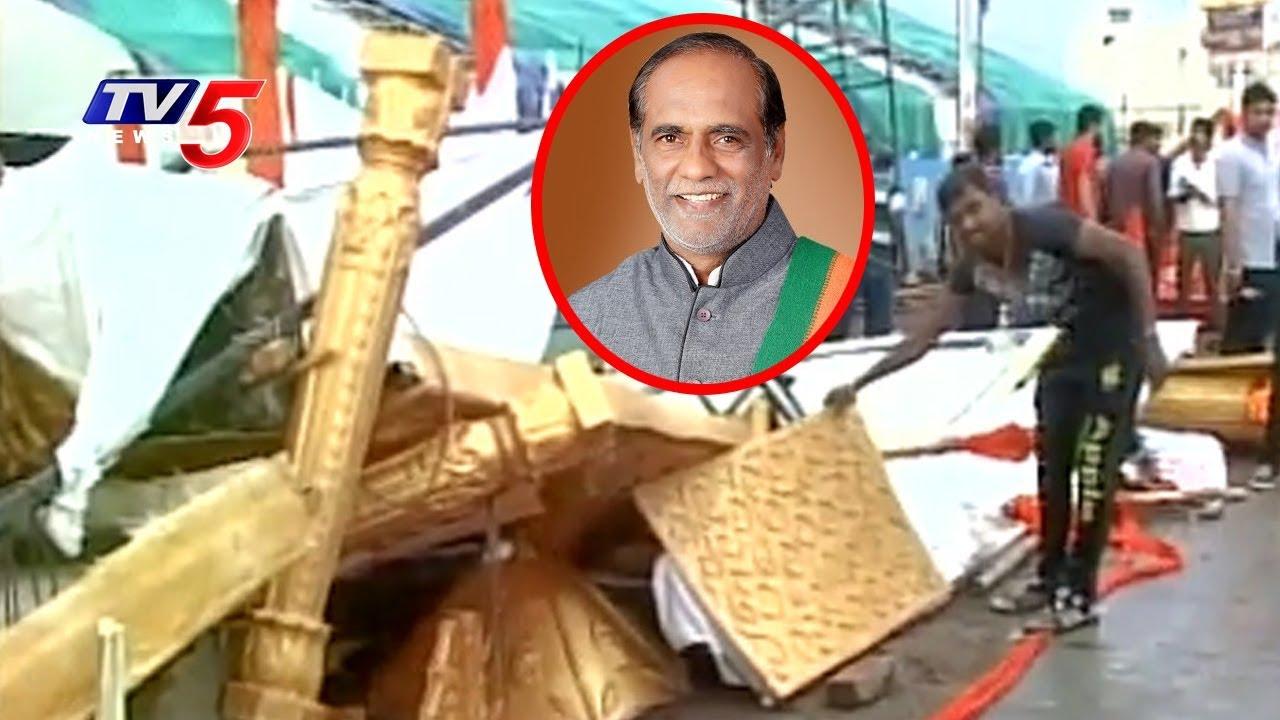 Download బీజేపీ లక్ష్మణ్కు తప్పిన ప్రమాదం : Tent Collapse Due To Heavy Wind   TV5 News