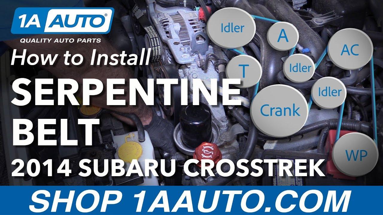 how to install replace serpentine drive belt 2013 15 subaru xv crosstrek [ 1280 x 720 Pixel ]