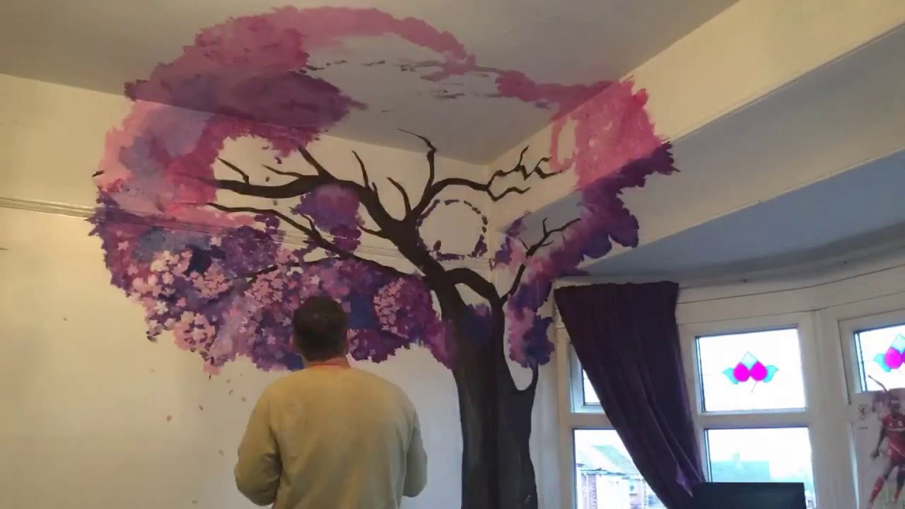 2 Cherry Blossom trees time lapse mural by drews wonder walls  YouTube
