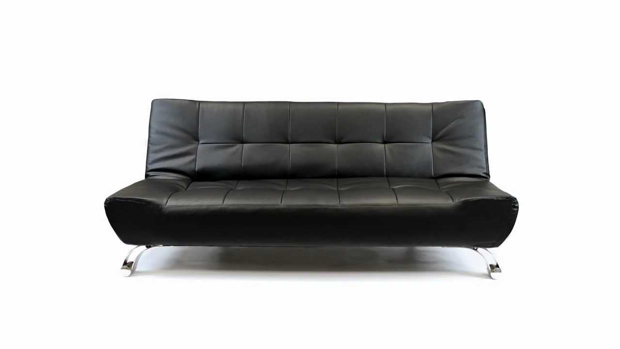 Furnisho Verona Faux Leather Sofa Bed 3 Seater Modern Sofabed Black You