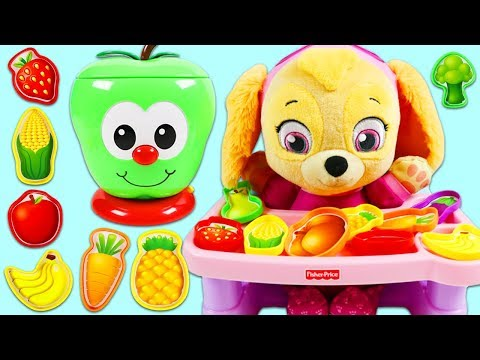 LEARN COLORS and Fruit Name with Paw Patrol Baby Skye & Sort and Learn Apple Game!