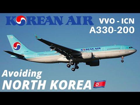 Avoiding North Korea on KOREAN AIR A330-200 from Vladivostok to Seoul