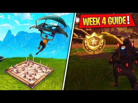 Fortnite WEEK 4 CHALLENGES GUIDE! Treasure Map Location, Trap Eliminations (Battle Royale Season 4)